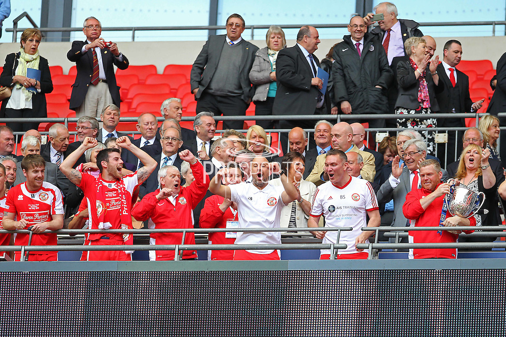 North Shields Manager Graham Fenton celebrating the vase win during the FA Vase Final between Glossop North End and North Shields at Wembley Stadium, London, England on 9 May 2015. Photo by Phil Duncan.