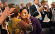 CAPTION CORRECTION: CORRECTS SPELLING TO ANDERSEN: Teacher Amy Andersen (right) is hugged and kissed by her mother Ruth Brown (left) after she was announced as the Teacher of the Year Wednesday, October 04, 2017 at the New Jersey Department of Education in Trenton, New Jersey. (WILLIAM THOMAS CAIN / For The Philadelphia Inquirer)