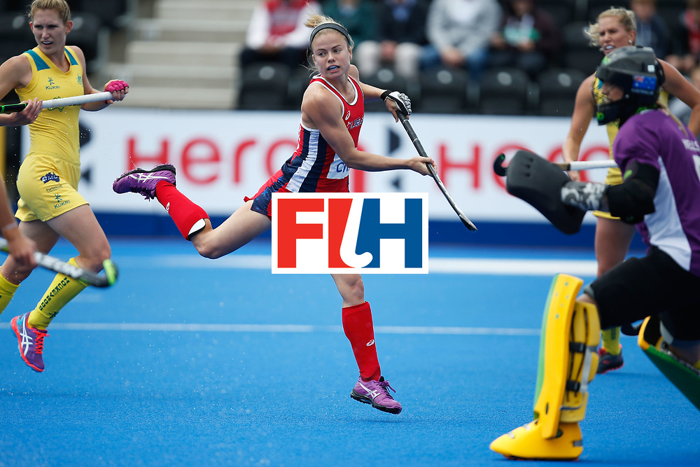 LONDON, ENGLAND - JUNE 18: Kathleen Sharkey of the USA jumps out of the way of the ball during the FIH Women's Hockey Champions Trophy 2016 match between United States and Australia at Queen Elizabeth Olympic Park on June 18, 2016 in London, England.  (Photo by Joel Ford/Getty Images)