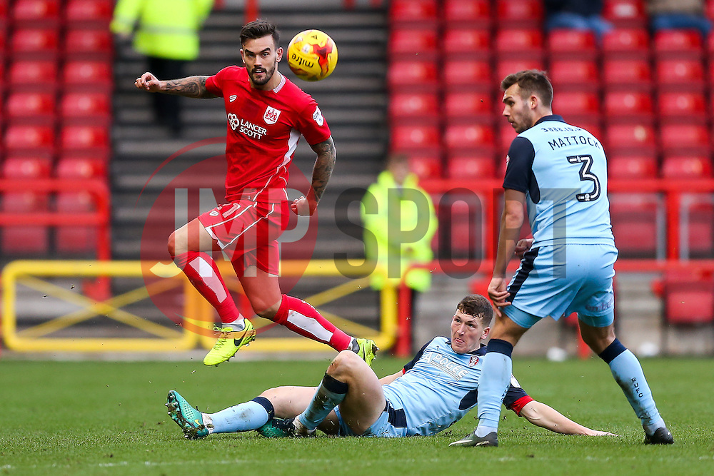 Marlon Pack of Bristol City is challenged by Richard Smallwood of Rotherham United - Rogan Thomson/JMP - 04/02/2017 - FOOTBALL - Ashton Gate Stadium - Bristol, England - Bristol City v Rotherham United - Sky Bet Championship.