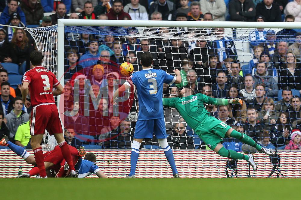 Goal, Kike of Middlesbrough scores, Brighton & Hove Albion 0-1 Middlesbrough - Mandatory byline: Jason Brown/JMP - 07966 386802 - 19/12/2015 - FOOTBALL - American Express Community Stadium - Brighton,  England - Brighton & Hove Albion v Middlesbrough - Championship