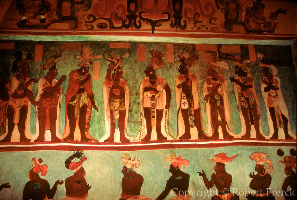 MEXICO, MAYAN, CHIAPAS Bonampak; mural of court figures