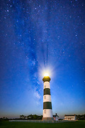 Bodie Island Lighthouse and the night sky on the Outer Banks of N.C.