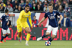 May 15, 2019 - Foxborough, MA, U.S. - FOXBOROUGH, MA - MAY 15: New England Revolution defender Antonio Mlinar Delamea (19) plays the ball away from Chelsea FC midfielder Ruben Loftus-Cheek (12) during the Final Whistle on Hate match between the New England Revolution and Chelsea Football Club on May 15, 2019, at Gillette Stadium in Foxborough, Massachusetts. (Photo by Fred Kfoury III/Icon Sportswire) (Credit Image: © Fred Kfoury Iii/Icon SMI via ZUMA Press)
