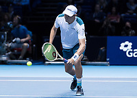 Tennis - 2017 Nitto ATP Finals at The O2 - Day Two<br /> <br /> Mens Doubles: Group Woodbridge/Woodforde: Jamie Murray (Great Britain) & Bruno Soares (Brazil) Vs Bob Bryan (United States) & Mike Bryan (United States)<br /> <br /> Bob Bryan (United States) gets down low at the O2 Arena<br /> <br /> COLORSPORT/DANIEL BEARHAM