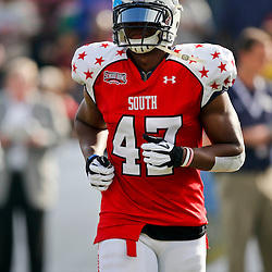 Jan 26, 2013; Mobile, AL, USA; Senior Bowl south squad defensive lineman Ezekial Ansah of Brigham Young (47) prior to kickoff of a game against the Senior Bowl north squad at Ladd-Peebles Stadium. Mandatory Credit: Derick E. Hingle-USA TODAY Sports