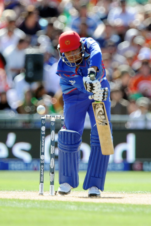 Afghanistan's Javed Ahmadi bats against New Zealand in the ICC Cricket World Cup at McLean Park, Napier, New Zealand, Sunday, March 08, 2015. Credit:SNPA / Ross Setford