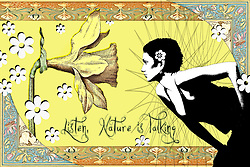 listen nature is talking plant life geology nature environment yellow flowers floral woman girl nouveau art deco art nouveau daffodil whimsical, magical, artwork...Photos and illustration by Charr Crail, 2011, All Rights Reserved.www.charrcrail.com.916-505-1154..Charr Crail Fractals.Fractal art illustration kaleidascope pattern infinity mathematical..Photo/illustration by Charr Crail, 2011, All Rights Reserved.www.charrcrail.com.916-505-1154..
