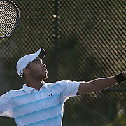 August 15, 2014, New Haven, CT:<br /> Samuel Shropshire hits a forehand during a US Open National Playoff match against Maxx Lipman during the 2014 Connecticut Open at the Yale University Tennis Center in New Haven, Connecticut Friday, August 15, 2014.<br /> (Photo by Billie Weiss/Connecticut Open)