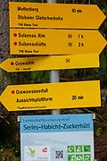 Trail signs signpost, Sulzenau Huette, Sulzenaualm, Grawaalm, wild water trail, Stubai Valley, Tyrol, Austria