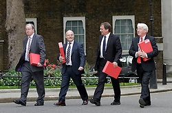 © Licensed to London News Pictures. 15/09/2011. London, United Kingdom .(R-L) James Chestnutt, UK Chairman of cruise porter lines and Hampshire chamber of commerce. Alan Whitehead MP Southampton. Cllr Royston Smith. David Foley Chief Executive Dover district chamber of commerce..Petition being delivered to No.10 Downing Street by a coalition of politicians and business leaders against Liverpool's cruise terminal proposal..Photo credit : Chris Winter/LNP
