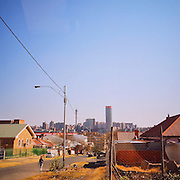View of Hillbrow Tower and Ponte City Apartment building in Johannesburg South Africa