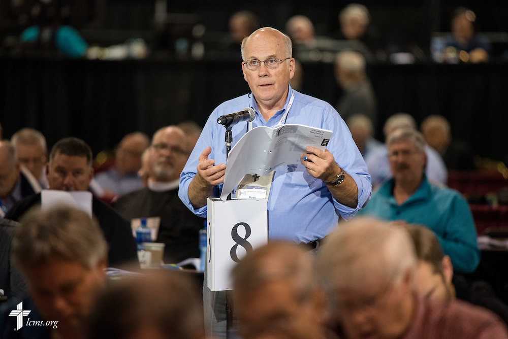Russ Boraas, a lay voting delegate from LCMS Southeastern District, speaks Wednesday, July 13, 2016, at the 66th Regular Convention of The Lutheran Church–Missouri Synod, in Milwaukee. LCMS/Frank Kohn