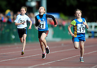 20 Aug 2016: l-r; Sarah Burrows, Cork, Chloe A Morrissey, Waterford, and Laura McCormack, Longford, in the Girls U10 100m heats.   2016 Community Games National Festival.  Athlone Institute of Technology, Athlone, Co. Westmeath. Picture: Caroline Quinn