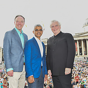 Photocall of Ian Robertson,,Sadiq Khan,Sir Simon Rattle at the BMW Classics + live streamed on YouTube in Trafalgar Square on a hot weather in London, UK on July 1st 2018.