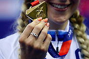 Illustration, Podium, Women Elimination Race, Laura Kenny (Great Britain), gold medal, during the Track Cycling European Championships Glasgow 2018, at Sir Chris Hoy Velodrome, in Glasgow, Great Britain, Day 4, on August 5, 2018 - Photo Luca Bettini / BettiniPhoto / ProSportsImages / DPPI - Belgium out, Spain out, Italy out, Netherlands out -