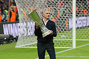 Manchester United Manager Jose Mourinho with the Europa League trophy during the Europa League Final between Ajax and Manchester United at Friends Arena, Solna, Stockholm, Sweden on 24 May 2017. Photo by Phil Duncan.