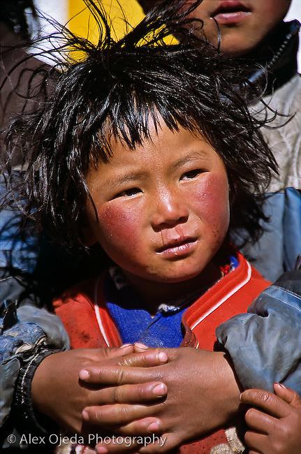 Tibetan boys, Lake Nam-Tso, Tibet