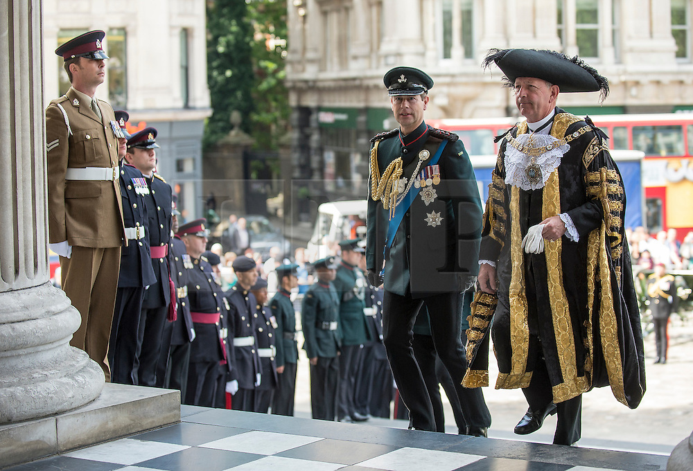 © London News Pictures. 18/06/2015. London, UK. His Royal Highness Prince Edward arrives at a service of commemoration at St Paul's Cathedral to mark the 200th Anniversary of the Battle of Waterloo, accompanied by the Lord Mayor of London Photo credit: Sergeant Rupert Frere/LNP