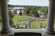 Middletown, New York - People gather on Alumni Green at SUNY Orange to watch a partial solar eclipse on Aug. 21, 2017.
