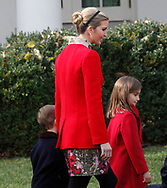 Presidential daughter Ivanka Trump and children at  the  pardon of the Thanksgiving turkey in the rose Garden on November 21,2017<br />