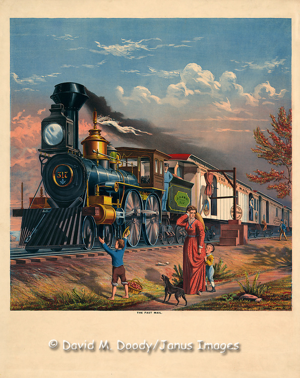 Vintage Illustration:  The fast mail (train) c1875.