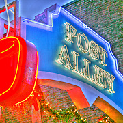 Seattle's Best Coffee Cup sign and Post Alley sign at Pike Place Market in Seattle Washington