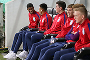England Forward Marcus Rashford shares a laugh with England Midfielder Jesse Lingard during a general stadium walk around before the Slovenia vs England FIFA World Cup Group F Qualifier match at Stadion Stozce, Ljubljana, Slovenia on 10 October 2016. Photo by Phil Duncan.