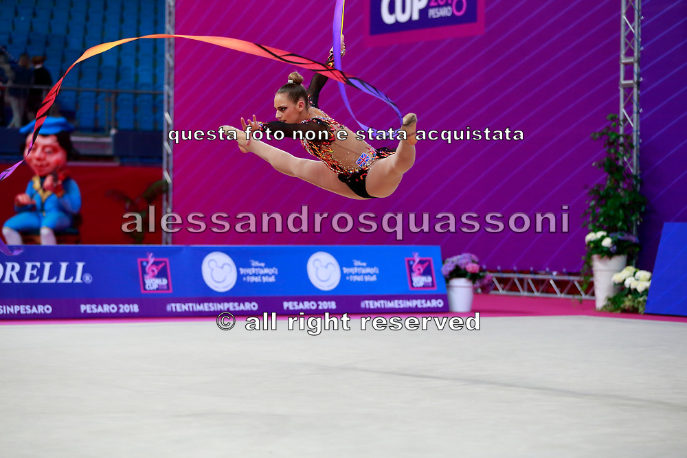 Vitanova Christianna during the qualifying at the Pesaro World Cup in 2018. Christianna is a gymnast from Great Britain of Bulgarian origins, she was born in Sofia in 2001.