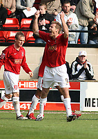 Photo: Mark Stephenson.<br />Walsall v Accrington Stanley. Coca Cola League 2. 31/03/2007. Walsall's Martin Butler celebrates his goal