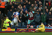 West Ham United midfielder, on loan from Chelsea, Victor Moses   goes round Blackburn Rovers goalkeeper Jason Steele  during the The FA Cup match between Blackburn Rovers and West Ham United at Ewood Park, Blackburn, England on 21 February 2016. Photo by Simon Davies.