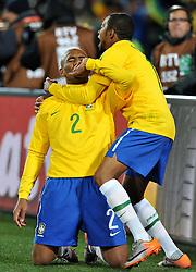 Football - soccer: FIFA World Cup South Africa 2010, Brazil (BRA) - Korea DPR (PRK), douglas Maicon e Robinho