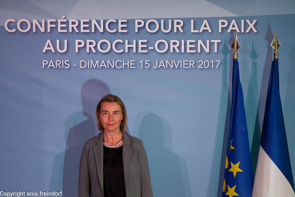 Middle East Peace Conference, Paris, France. International summit. 7O countries have participated in the summit. Federica Mogherini, Italian politician and the current High Representative of the European Union for Foreign Affairs and Security Policy and Vice-President of the European Commission in the Juncker Commission