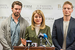 LOS ANGELES, USA - DECEMBER 5: Attorney Lisa Bloom talks as she stands beside Mark Ricketson (L) and Jason Boyce (R) during a press conference at the Bloom Firm in Los Angeles, California on December 5, 2017. Bloom's client, Jason Boyce, filed a lawsuit against photographer Bruce Weber alleging sexual harassment during a photoshoot in 2014. Justin L. Stewart / Anadolu Agency    BRAA20171205_479 California Etats-Unis United States