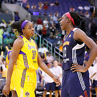 03 August 2014: Los Angeles Sparks forward Nneka Ogwumike (30) talks to Connecticut Sun forward Chiney Ogwumike (13) during the Los Angeles Sparks 70-69 victory over the Connecticut Sun, at the Staples Center, Los Angeles, California, USA.