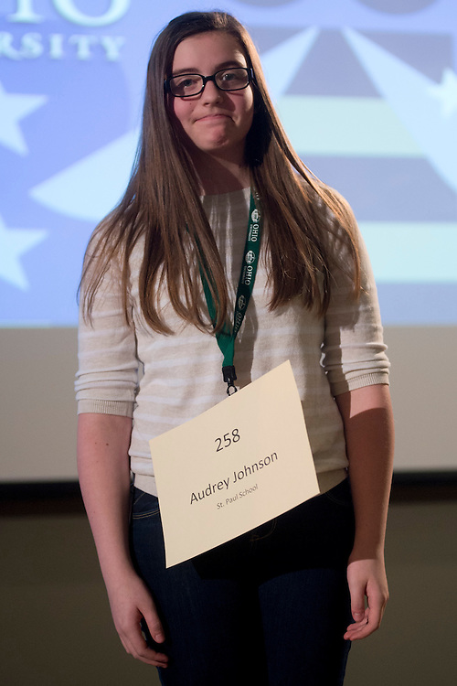Audrey Johnson of St. Paul School introduces herself during the Columbus Metro Regional Spelling Bee Regional Saturday, March 16, 2013. The Regional Spelling Bee was sponsored by Ohio University's Scripps College of Communication and held in Margaret M. Walter Hall on OU's main campus.