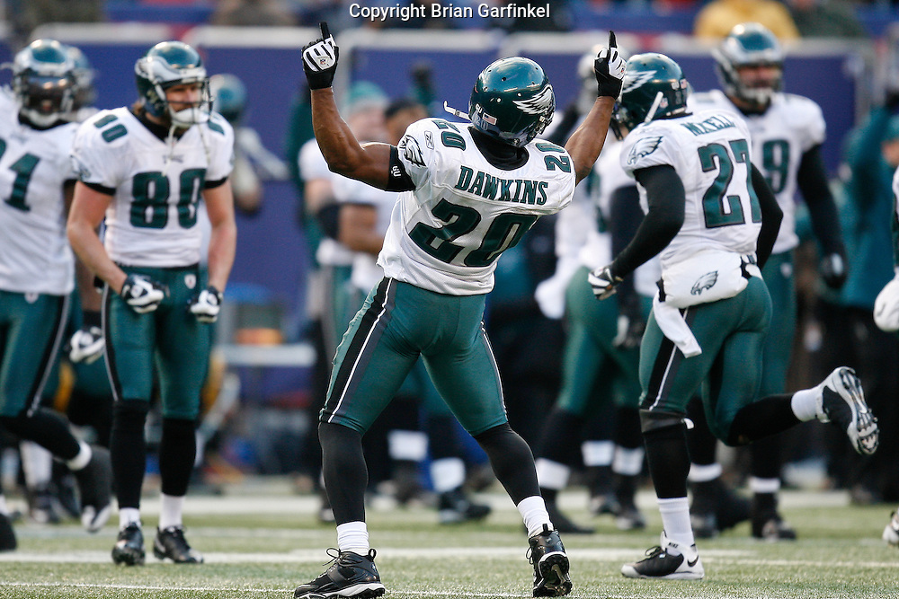 11 Jan 2009: Philadelphia Eagles safety Brian Dawkins #20 reacts after the Eagles defense stopped the Giants offense on a 4th down during the game against the New York Giants on January 11th, 2009.  The  Eagles won 23-11 at Giants Stadium in East Rutherford, New Jersey.