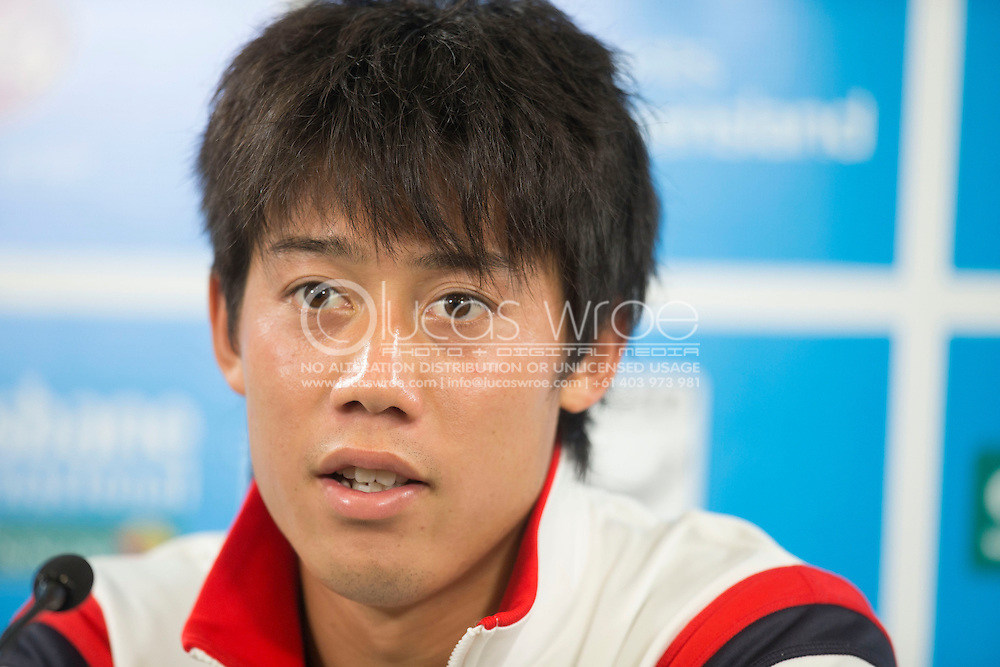 Kei NISHIKORI (JPN) Speaking at a press conference about his knee injury, withdrawal from the Brisbane International and his Australian Open prospects. Brisbane International Tennis Championship. Queensland Tennis Center, Tennyson, Brisbane, Queensland, Australia. 05/01/2013. Photo By Lucas Wroe