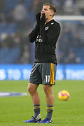 Leicester City midfielder Marc Albrighton (11) in warm up gestures during the Premier League match between Brighton and Hove Albion and Leicester City at the American Express Community Stadium, Brighton and Hove, England on 24 November 2018.