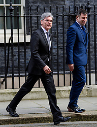 © Licensed to London News Pictures. 30/03/2017. London, UK. JOE KAESER (left), CEO of of Siemens AG, seen leaving Number 10 Downing Street on March 30, 2017 Photo credit: Ben Cawthra/LNP