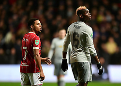 Korey Smith of Bristol City and Paul Pogba of Manchester United  - Mandatory by-line: Joe Meredith/JMP - 20/12/2017 - FOOTBALL - Ashton Gate Stadium - Bristol, England - Bristol City v Manchester United - Carabao Cup Quarter Final