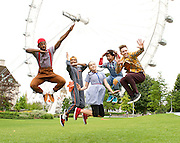 Zoo Nation's Groove On Down the Road<br /> publicity shoot at the London Eye, Southbank, London, Great Britain <br /> 30th July 2014 <br /> <br /> <br /> Arizona Snow<br /> Portia Oti<br /> Mikey Ureta<br /> Annie Edwards<br /> Chante Simpson<br /> Corey Culverwell<br /> Jaih Betote Dipito Akwa<br /> Mike McNeish<br /> William Pascue<br /> Steve Pascua<br /> <br /> Photograph by Elliott Franks