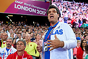 Great Britain, London - 2017 August 12: Thomas Kiriazis trainer coach of Ioannis Kiriazis from Greece gestures while men&rsquo;s javelin throw final during IAAF World Championships London 2017 Day 9 at London Stadium on August 12, 2017 in London, Great Britain.<br /> <br /> Mandatory credit:<br /> Photo by &copy; Adam Nurkiewicz<br /> <br /> Adam Nurkiewicz declares that he has no rights to the image of people at the photographs of his authorship.<br /> <br /> Picture also available in RAW (NEF) or TIFF format on special request.<br /> <br /> Any editorial, commercial or promotional use requires written permission from the author of image.