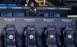Riyad Mahrez of Leicester City sits on an empty substitutes bench - Mandatory by-line: Matt McNulty/JMP - 10/02/2018 - FOOTBALL - Etihad Stadium - Manchester, England - Manchester City v Leicester City - Premier League
