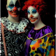 Halloween night in Greenwick Village couple dressed in clown costumes for Halloween