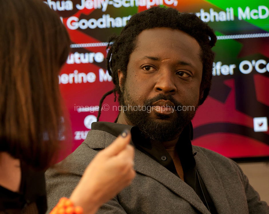 Novelist Marlon James during the 'New World Order' talk at the Dalkey Book Festival, Dalkey, County Dublin, Ireland, Thursday 15th June 2017. Photo credit: Doreen Kennedy