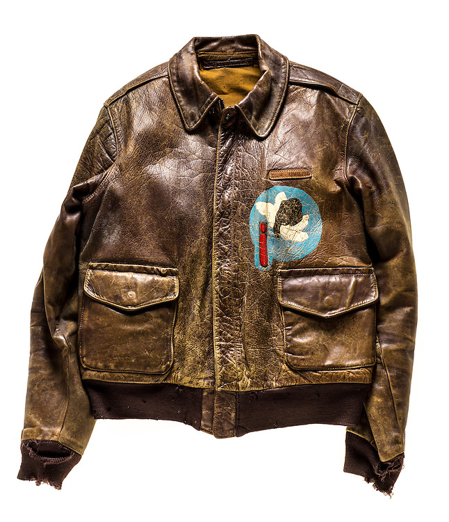 A-2 jacket that belonged to Lt. E. J. North, a B-17 pilot.  Alfred E. Neumann was used as the character on the reverse side.