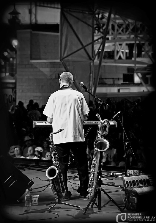 Bob Jennings on saxophone with Paul Cebar Tomorrow Sound performing live at Summerfest 2011. Photo © 2011 Jennifer Rondinelli Reilly. All rights reserved. No use without permission.  Contact me for any reuse or licensing inquiries.