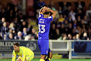 AFC Wimbledon striker Lyle Taylor (33) with head in hands during the EFL Cup match between AFC Wimbledon and Brentford at the Cherry Red Records Stadium, Kingston, England on 8 August 2017. Photo by Matthew Redman.