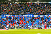 Rangers fans show their support at half time during the William Hill Scottish Cup quarter final replay match between Rangers and Aberdeen at Ibrox, Glasgow, Scotland on 12 March 2019.